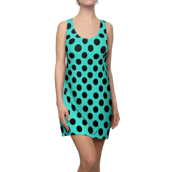 Turquoise with Black Polka Dots Racerback Dress