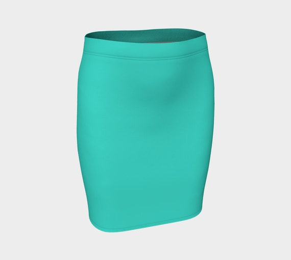 Turquoise Fitted Skirt
