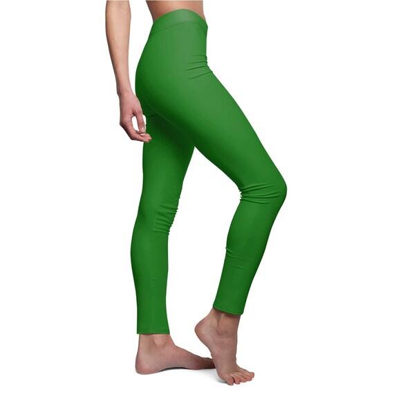 Women's Plain Jane Green Skinny Casual Leggings