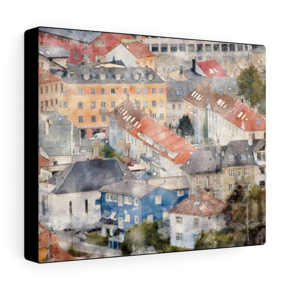 Bergen, Norway Photograph Converted to Watercolor Canvas Gallery Wraps
