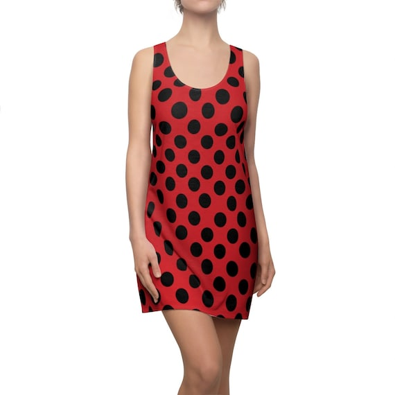 Flame Red with Black Polka Dots Racerback Dress
