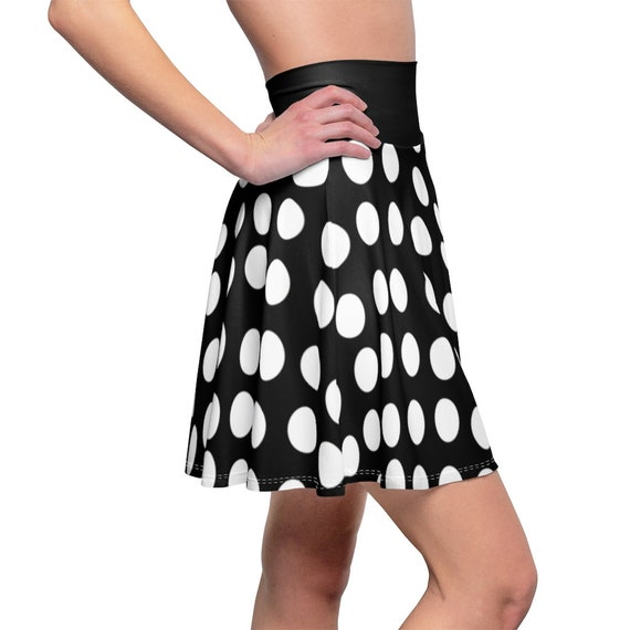 Black with White Polka Dots and a Black Waistband Skater Skirt