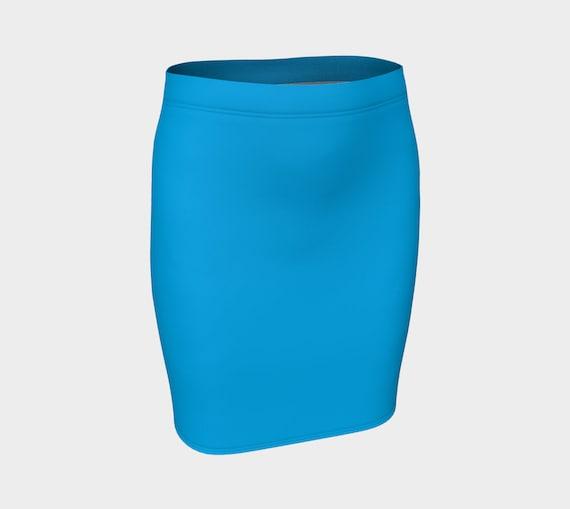 Deep Sky Blue Fitted Skirt