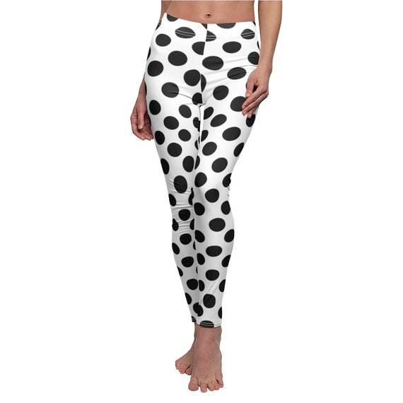 White with Black Polka Dots Skinny Casual Leggings