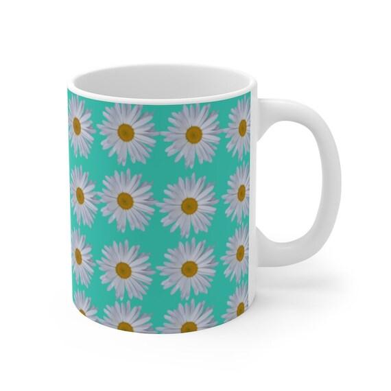 Turquoise & Daisies Mug 11oz