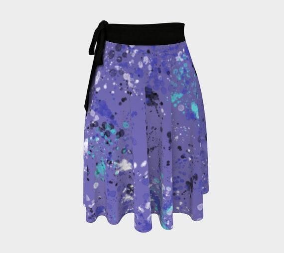Purple Splatter Wrap Skirt