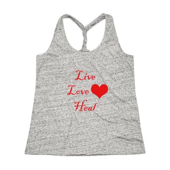 Women's Cosmic Twist Back Live Love Heal lettering Tank Top