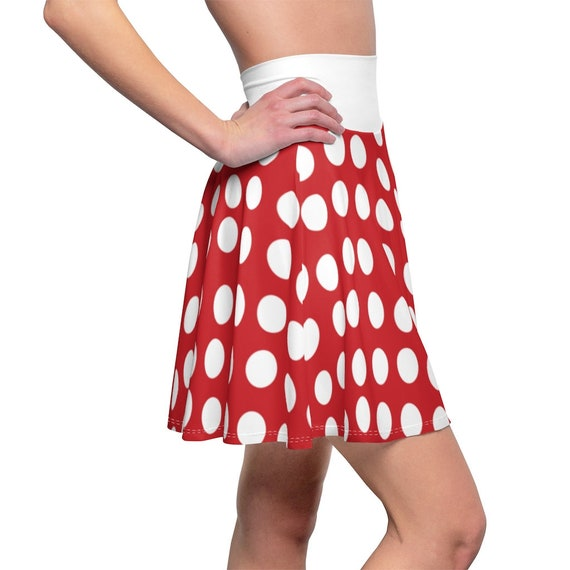 Red with White Polka Dots and waistband Skater Skirt