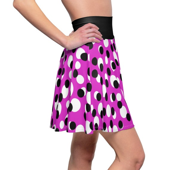 Pink with Black with White Polka Dots with a Black Waistband Skater Skirt