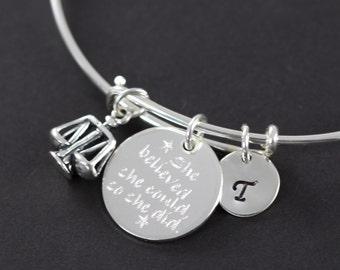 Lawyer Judge Attorney, Law School Graduation Gift Personalized Bangle Bracelet 925 Sterling Silver