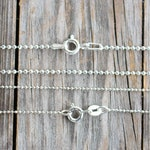 Sterling Silver Ball Chain Necklace 1mm and 1.5mm Thickness, Diamond Cut, Replacement Chain 12 14 15 16 17 18 20 22 24 26 to 40 inches