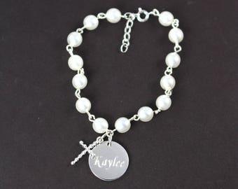 Baptism Gift Bracelet for Girls - Religious Jewelry - Engraved Name Pendant Cross Bracelet 925 Sterling Silver