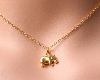 Hippo Necklace Gold - Hippo Charm 18k Gold or 925 Sterling Silver - Hippo Jewelry