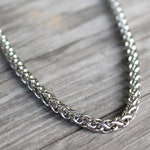 Necklace for Men , Titanium Steel , Silver Stainless Steel Chain with Lobster Clasp , 5 mm Thickness , 18 20 22 24 26 28 30 inches