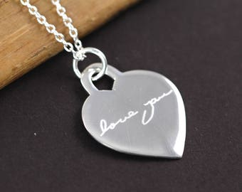 Handwriting Jewelry , Custom Handwriting Pendant Necklace 925 Sterling Silver , Valentine's Gift for Her