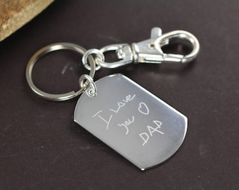 Fathers Day Gifts for Dad , Kids Handwriting Keychain , Engraved Dogtag