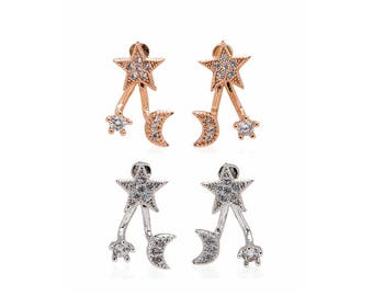 Super Sparkly Crystal Star Moon Stud Earrings - 925 Sterling Silver and Rose Gold Star Studs