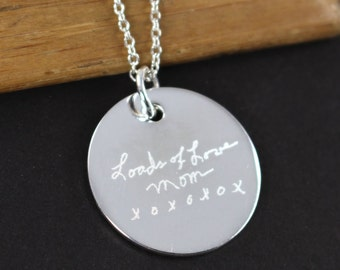 Engraved Handwriting Jewelry Pendant Necklace , 925 Sterling Silver , Valentine's Gift for Her