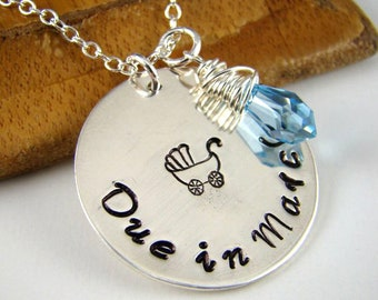 Due Date Necklace Expecting Mom Gift Pregnant Jewelry To Be Stamped Personalized