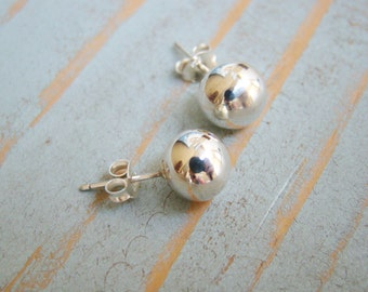 .925 Sterling Silver High Polished Ball Stud Earring for Women 10 mm