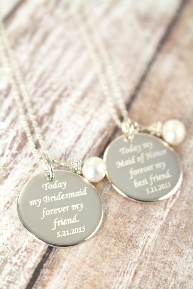 Bridesmaid Necklaces , Personalized Engraved Wedding Jewelry, 925 Sterling Silver