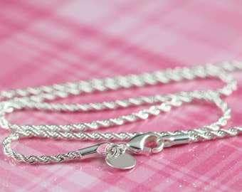 Silver Necklace - Silver Rope Chain Necklace - Silver Chain Necklace - Finished Silver Chain for Her - 2mm - 16 18 20 22 24 inches