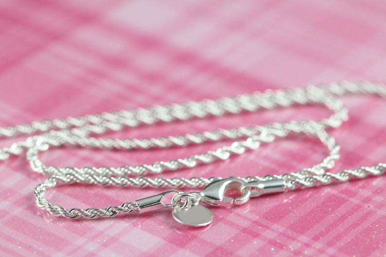 Silver Necklace  Silver Rope Chain Necklace  Silver Chain image 0