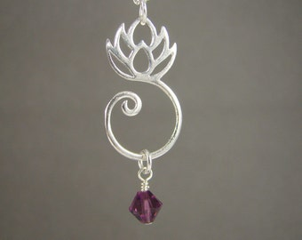 Personalized Lotus Birthstone Crystal Necklace, Meditation Jewelry, Bridesmaid Necklace, Yoga Jewelry, Spiritual Necklace, Buddhist Jewelry