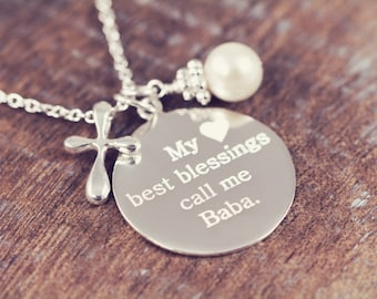 Personalized Grandma Necklace Gift Engraved My Blessings Call Me Grandma Pendant 925 Sterling Silver