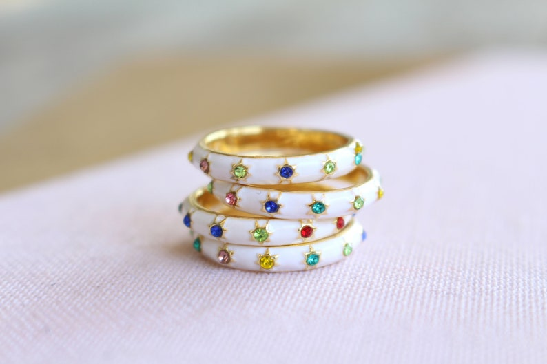 Micro Pave CZ Rainbow CZ Eternity Ring Custom Engraved Personalized Rings 14k Gold over Sterling Silver Stacking Rings