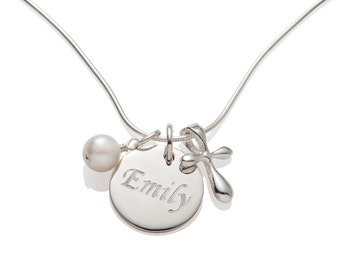 Confirmation Gift Girl First Communion Gift Cross Necklace, Name and Date Necklace, Personalized Engraved Cross Necklace R001
