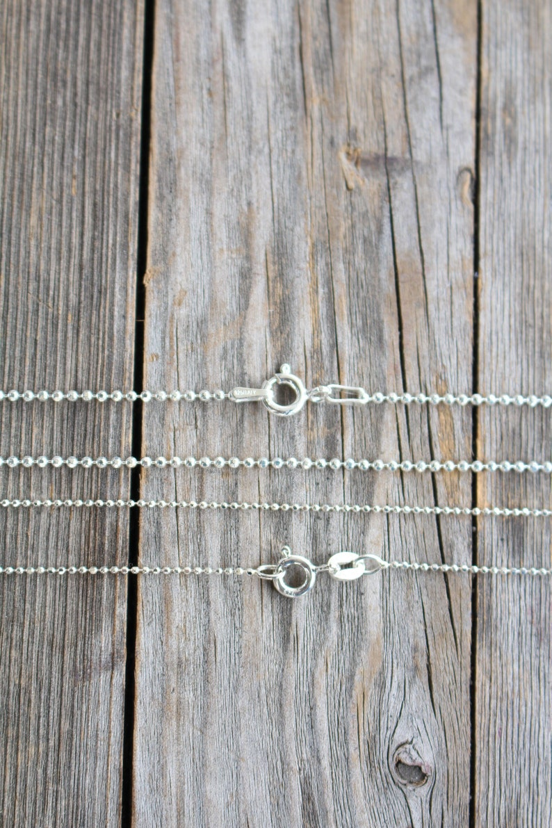 Sterling Silver Ball Chain Necklace 1mm and 1.5mm Thickness image 0