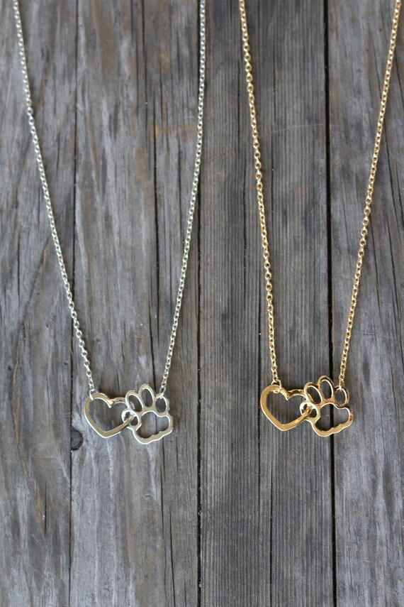 Love Heart Pendant Dog Cat Paw Print Chain Necklace Women Animals Pet Lover Gift