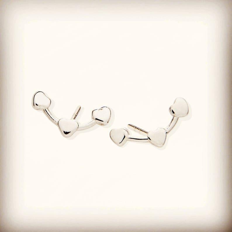ae2f61ec6 Triple Heart Stud Earrings Valentine's Gift Idea 3 | Etsy