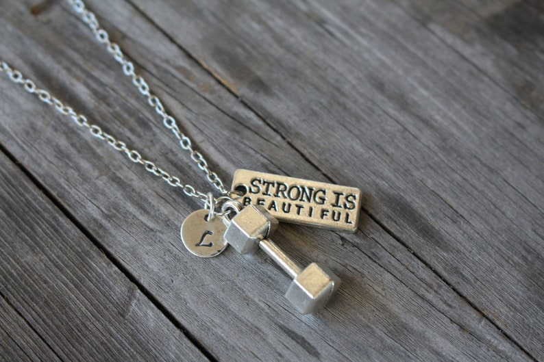 Strong is Beautiful Initial Necklace  Inspirational Jewelry  image 0