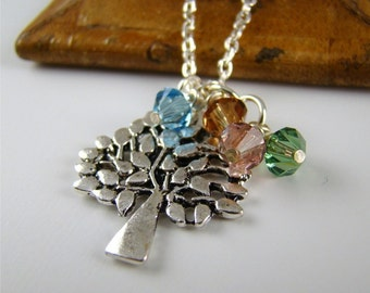 Personalized Gifts for Grandmother, Silver Family Tree Pendant Charm Necklace, Tree of Life, Birthstones