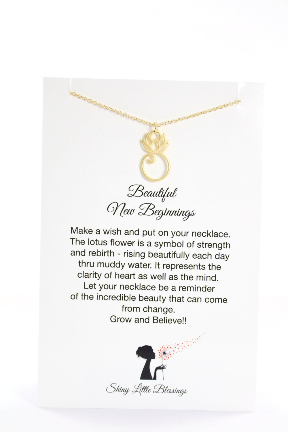 Gold lotus necklace on a card new beginnings encouragement etsy zoom izmirmasajfo