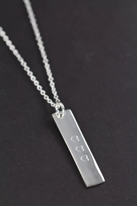 Personalized .925 Sterling Silver Horizontal Rectangular Bar Necklace