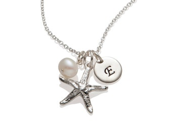 Starfish Necklace - Personalized Starfish Charm 925 Sterling Silver Initial Necklace - Bridesmaid Necklace Beach Themed Jewelry