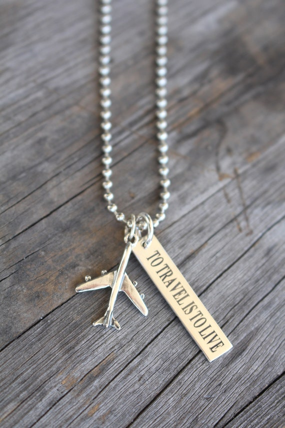 The Travel Enthusiast Airplane Necklace - Custom Engraved travel product recommended by Sabine Schoepke on Lifney.