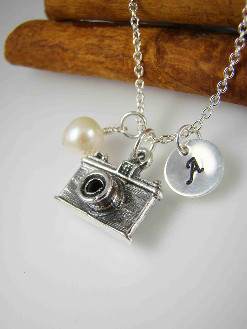 b7a5417589e9 Camera Pendant Charm Necklace ALL STERLING SILVER Photographer