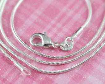 Bulk Necklaces 925 Sterling Silver Snake Chain Necklace 1mm 12 14 16 18 20 22 24 inches 5 Finished Chains at 60% Off , Wholesale Chains