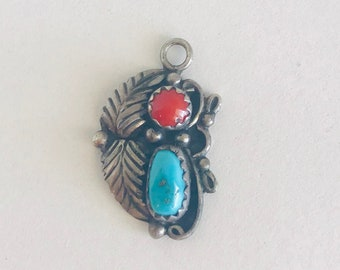 K. Lee Southwest Sterling Silver, Coral, and Turquoise Pendant Charm
