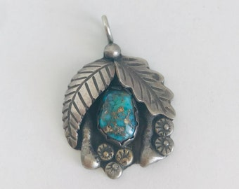 Vintage Southwest Style Silver and Turquoise Pendant Charm