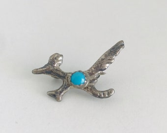 Southwest Sterling Silver and Turquoise Roadrunner Pin Brooch