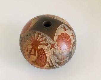 Jemez Pueblo Pottery Seed Pot Southwest Art Hand Carved