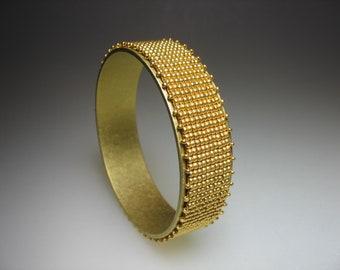 Hand Loomed Gold Glass Seed Bead Bangle