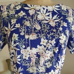 May Gibbs midbight blue flannel flower Mary Jane tea dress. Aussie print cotton women's fifties classic