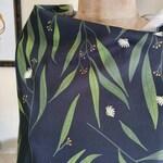 Brook Gossen black eucalyptus floral print Vivienne Top. Cotton sateen, botanical Australian made women's tee top.