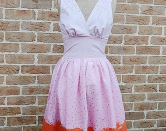 Gold pink red confetti gradient ombre print fifties vintage style tea dress. Stunning pink frock with gathered full skirt